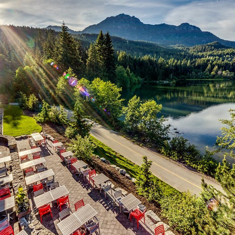 Whistler, BC; June 5, 2016: Nita Lake Lodge patio and lake views. Photo: Joern Rohde/www.joernrohde.com